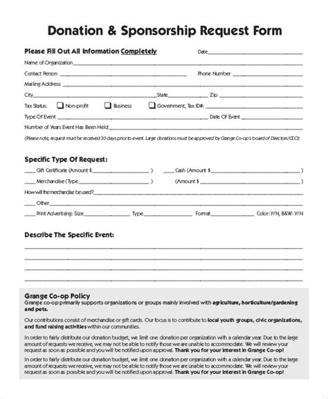 Sponsorship Request Form Template 10 Sle Donation Request Forms Pdf Word Sle Templates