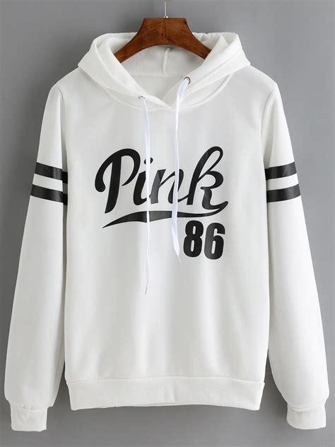Lettering Drawstring Hoodie white drawstring hooded letters print sweatshirt
