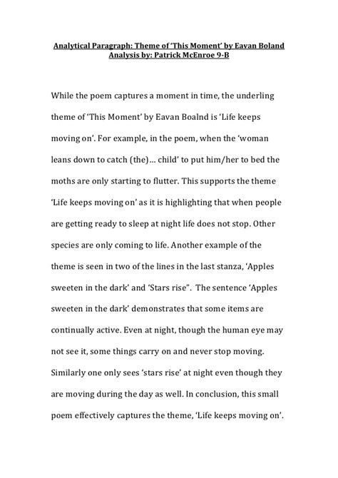 5 Paragraph Essay Poem Analysis by Analytical Paragraph Eavan Boland