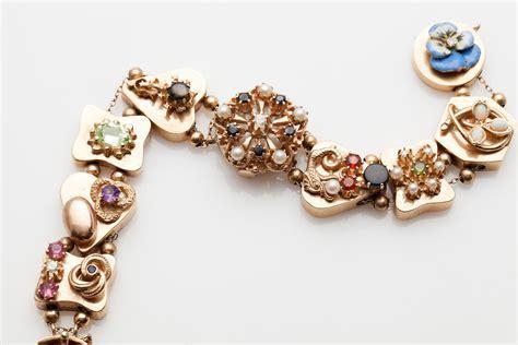 antique 1950s 6000 14k gold slide charm bracelet