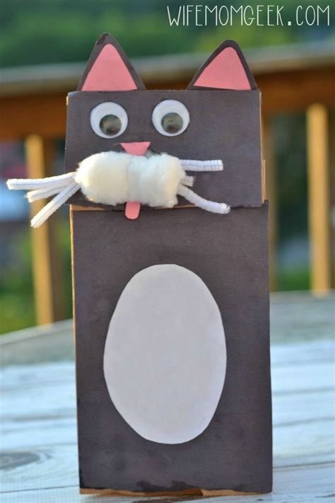 paper bag cat puppet pattern cat paper bag puppet kid craft fine motor bags and