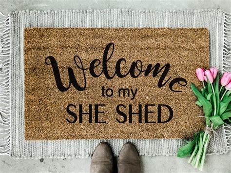 shed doormat girl cave doormat