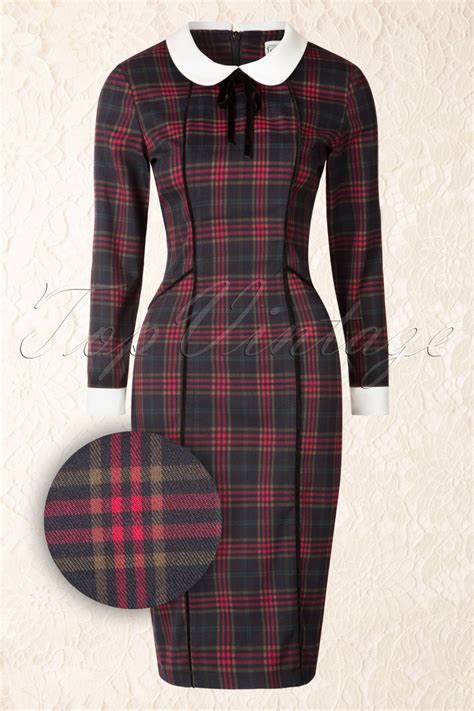 Check Dress 40s check pencil dress in navy and