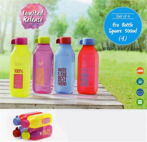 Eco Bottle Square 500ml by 1 Set 4 Pcs Eco Bottle Square Tupperware 500 Ml August