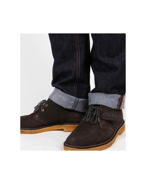 clarks originals desert boots in suede loden green shoes mens