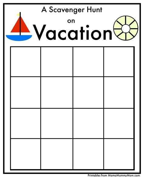 template for scavenger hunt free scavenger hunt printables