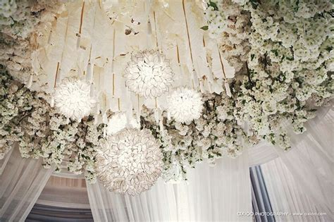 How To Hang Decorations From Ceiling by White Wedding Ceiling Decor Weddings