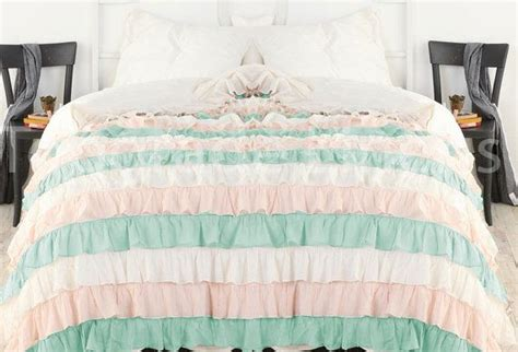 aqua and white bedding aqua pink white ruffle bedspread set 3pc egyptian cotton