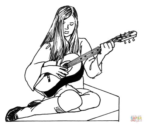 Girl Guitar Coloring Page | girl plays guitar coloring page free printable coloring