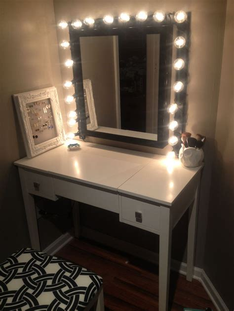 Makeup Vanity Table With Lighted Mirror Bathroom White Wooden Makeup Table With Lighted Mirror Added White Wooden Chair Using White And