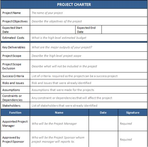 business charter template sle project charter templates commonpence co