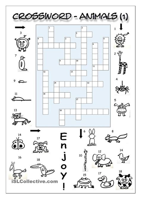 easy crossword puzzles esl crossword animals 1 easy english language esl efl