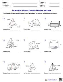 geometry worksheets surface area amp volume worksheets