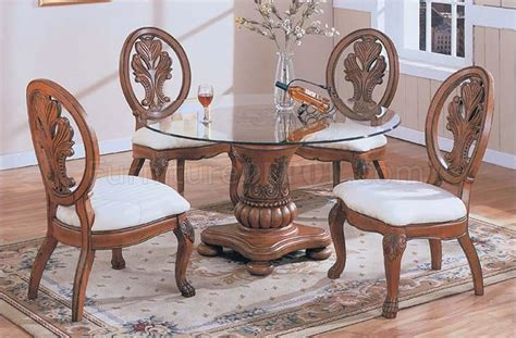 Coronado Cherry Finish Dining Table Modern Dinette With Glass Top And Cherry Finish Base