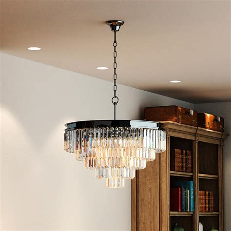 Odeon Crystal Chandelier 5 Tier Black Nickel Chrome Odeon Clear Prisms Crystal