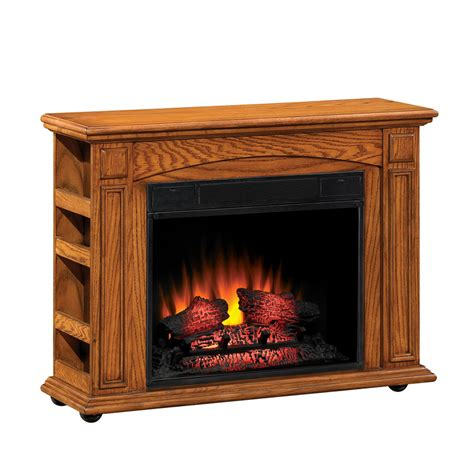 Oak Electric Fireplace by Shop Style Selections 37 In W 4 600 Btu Premium Oak Wood