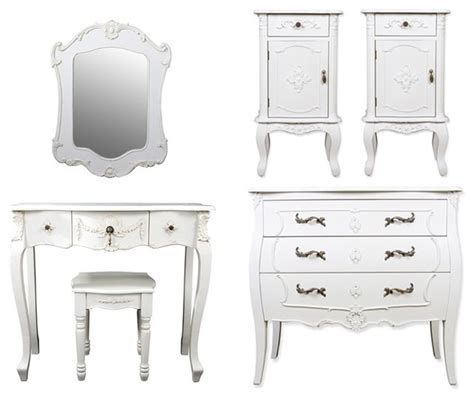 Six Piece Rococo Style Bedroom Furniture Set In White White Rococo Bedroom Furniture