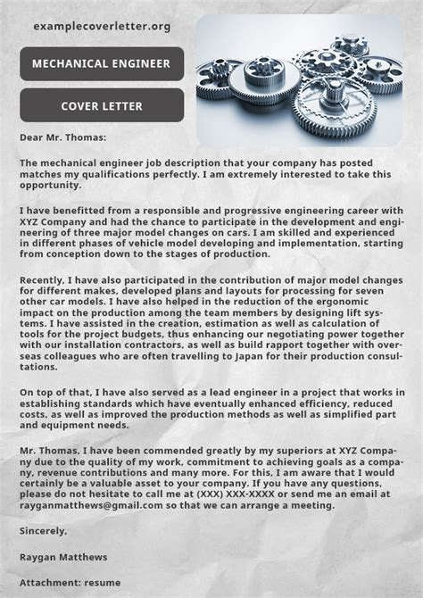 mechanical engineer cover letter mechanical engineer cover letter exle exle cover