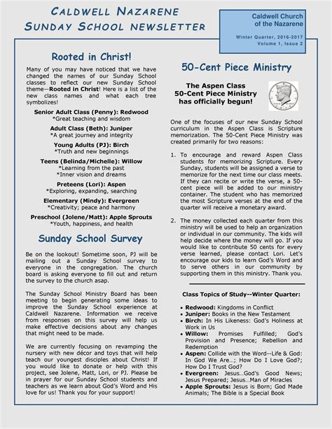 caldwell church of the nazarene sunday school newsletter