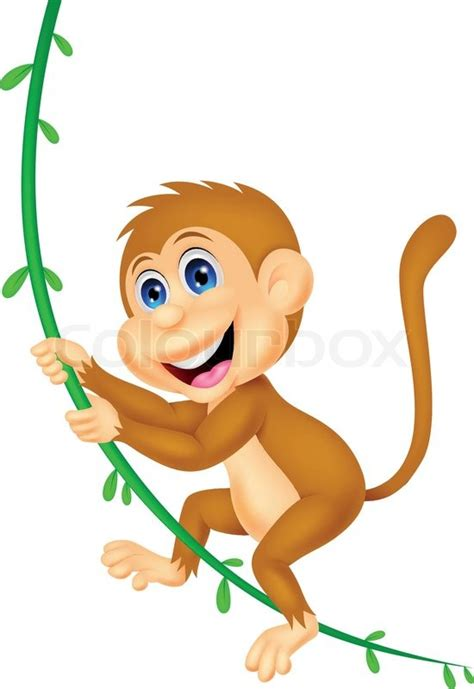 cartoon monkey swinging cute monkey cartoon swinging stock vector colourbox