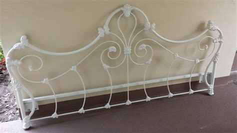 White Wrought Iron Headboards antique heavy duty painted white wrought iron king