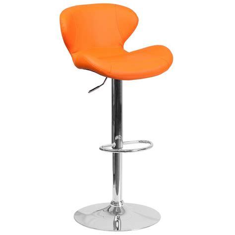 cushioned bar stool flash furniture adjustable height orange cushioned bar stool ch321org the home depot