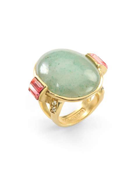 judith leiber green aventurine cocktail ring in metallic