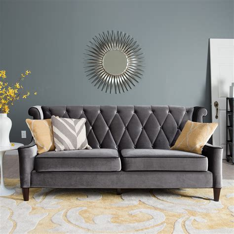 Grey Chairs Furniture Design Ideas Armen Living Barrister Gray Velvet Sofa Sofas Loveseats At Hayneedle