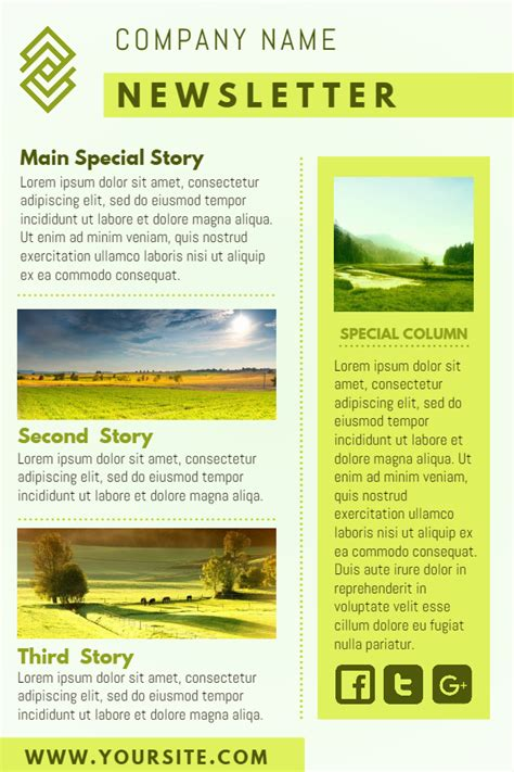 newsletter templates yellow company newsletter design template click to