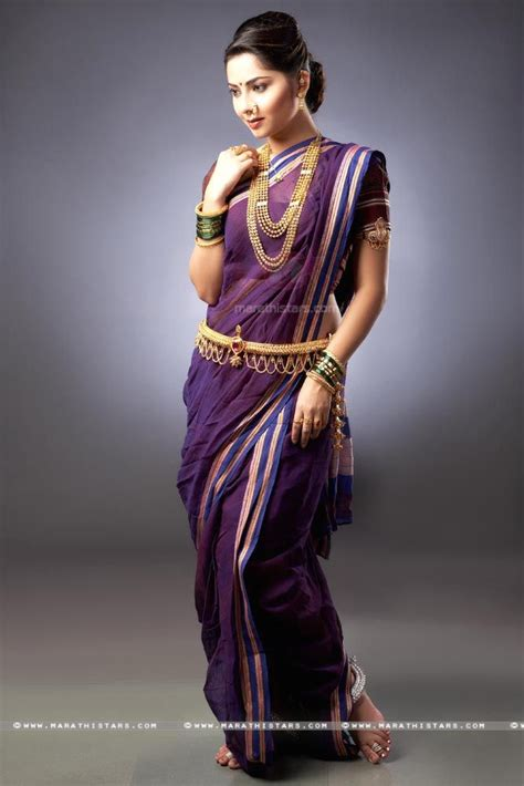 north indian style saree draping sonalee kulkarni marathi actress in saree jpg 667 215 1000