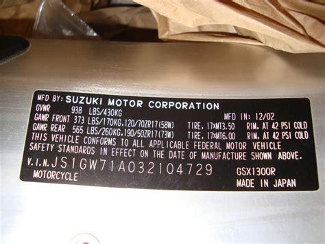 Suzuki Car Vin Decoder Vin Number Help Hayabusa Owners