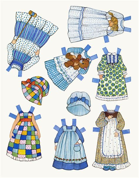 printable paper doll dresses ginghams paper dolls crafts pinterest
