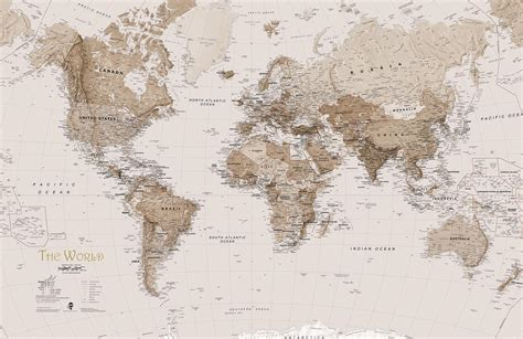 world map earth tone world map mural wallpaper murals wallpaper