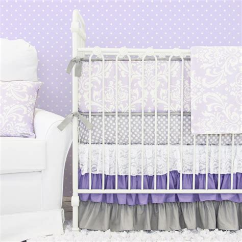 lavender baby bedding sweet lavender lace damask crib bedding set by caden lane