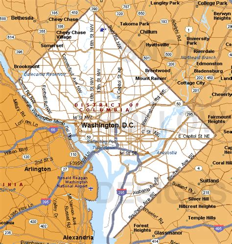 washington dc map of cities washington dc map