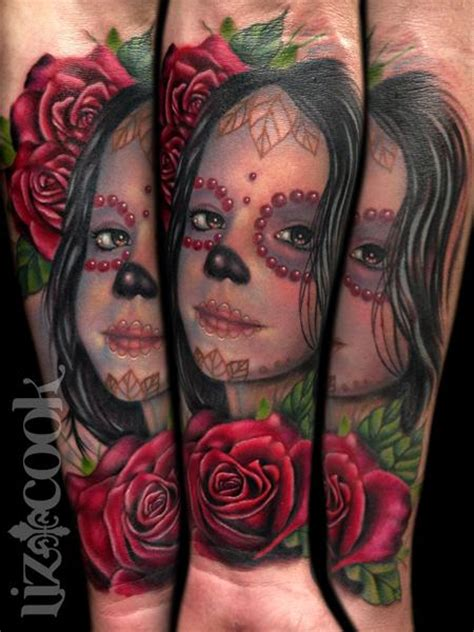 liz cook tattoo tattoos flower rose day of the dead
