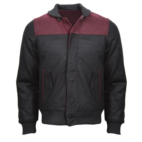 Jaket Towtone Black new mens contrast two tone bomber jacket coat navy khaki burgundy black s