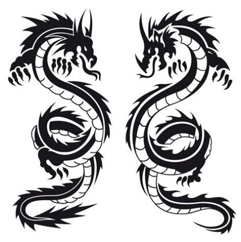 oriental tattoo black and white designtattoo silhouette chinese dragons tattoo black and