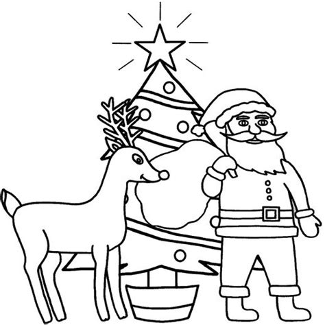 santa christmas tree coloring page kitty standing in front of big christmas tree coloring