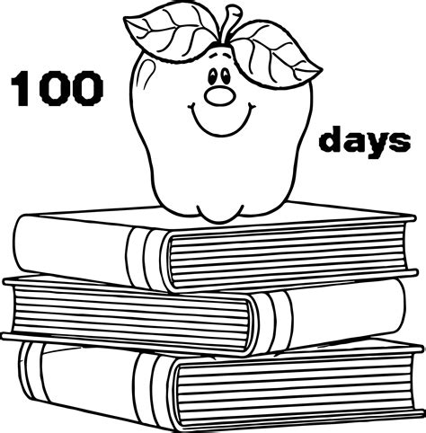 coloring pages school days 100 days school apple books coloring page wecoloringpage