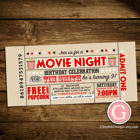 printable movie night tickets movie night invitation vintage ticket style birthday boy