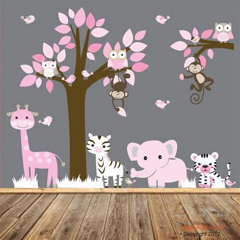 nursery vinyl wall decal sticker pink jungle animal giraffe elephant tiger zebra monkeys with
