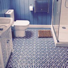 cornflower blue bathroom rose des vents vinyl floor tiles love this for an