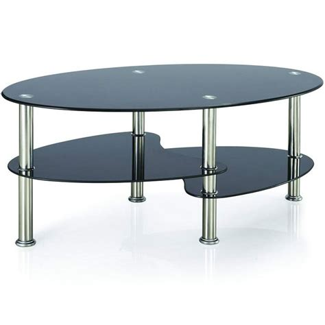 Living Room Glass Coffee Tables Cara Coffee Table Black Glass Oval Top Living Room Furniture Stainless Steel Ebay