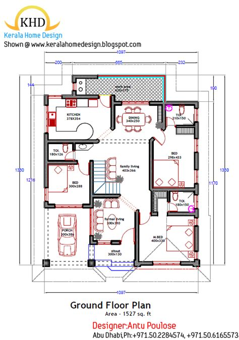 kerala home design ground floor plan home plan and elevation 1800 sq ft kerala house design idea