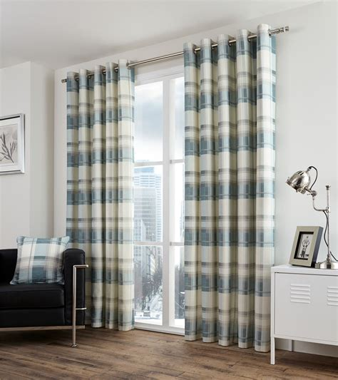 beige and teal curtains plaid check teal beige lined 100 cotton ring top curtains