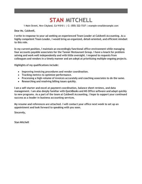 Leading Professional Team Lead Cover Letter Exles Resources Myperfectcoverletter Lead Response Templates
