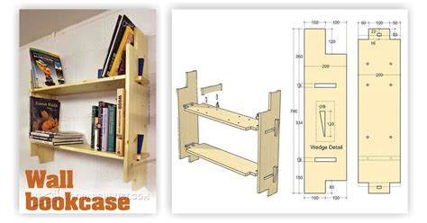wall bookcase plans woodarchivist