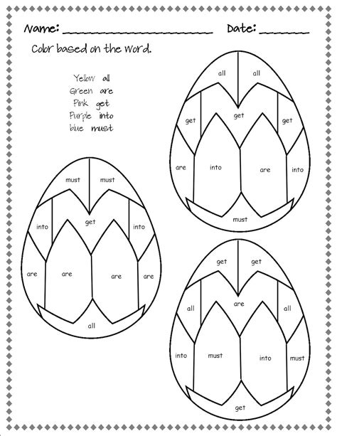 easter coloring pages for pre k dolch easter egg sight words tales from outside the