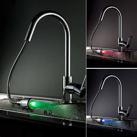 led kitchen faucets led kitchen faucet with pull out sprayer